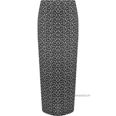 WearAll Women's Monochrome Floral Print Long Stretch Maxi Skirt 14-28