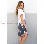 wenseny Womens Skirts Knee Length Pencil Skirts Elastic Midi Bodycon Solid Drawstring Daily Dresses