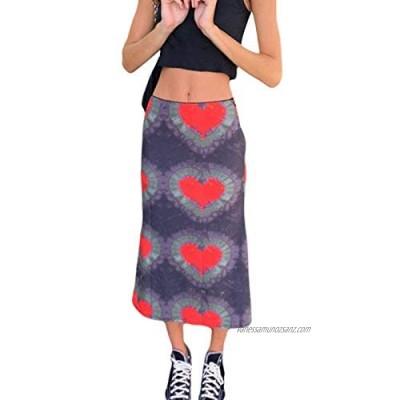 Women's Y2K Midi Skirt Fashion Vintage Harajuku E-Girl 90S Boho Style High Waist Slim Fit Gothic Skirt
