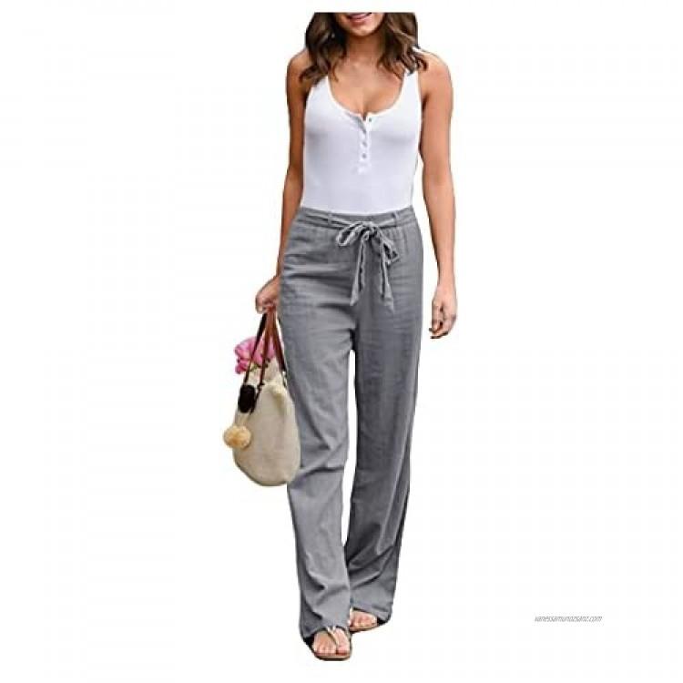 Boni caro Women Trousers Casual Cotton Linen Summer Flared Pants – Top Trend Ladies Fashion Loose Fit Harem Drawstring Cargo Pants Women's Wide Leg Trouser Grey Khaki Black Brown 8-18 UK Size