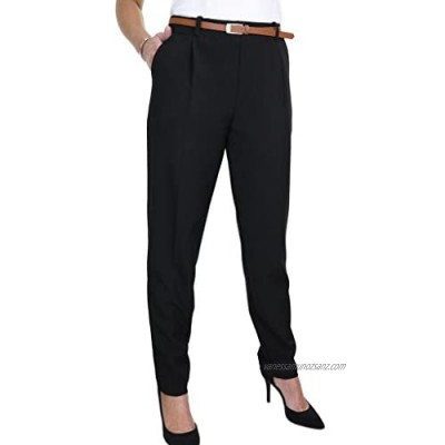 icecoolfashion Women's Tapered Leg Smart Tailored Office Day Trousers Ladies Formal Stretch Lightweight Work Pants Free Belt Size 8-22