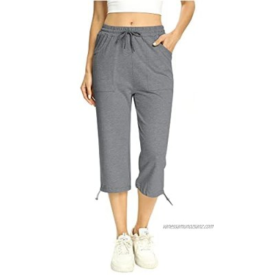 Irevial Women 3/4 Activewear Trousers Elastic Hem Sweat Pants Cotton Athletic Capri Drawstring Waist Workout Sports Trousers with Pockets