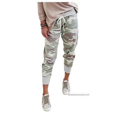 KISSMODA Womens Soft Casual Drawstring Tie Elastic Waist Loose Joggers Pants with Pockets