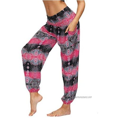 Nuofengkudu Women's Hippie Baggy Harem Trousers with Pockets Smocked High Waisted Soft Boho Patterned Gypsy Yoga Pants Holiday Summer Beach Party
