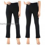 Stylo Online Pack of 2 Ladies Bootleg Trousers Womens Boot Cut High Rise Stretch Soft Finely Ribbed Pull On Nurse Carer Work Bottoms Elasticated Waist Casual Pants (Black 16/31)