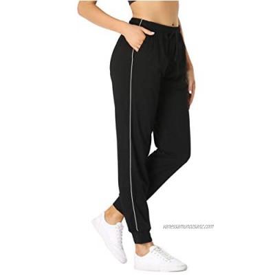 Vlazom 100% Cotton Women's Joggers Pants Drawstring Waist Sweatpants Workout Yoga Lounge Pants with Pockets for Running Jogging Fitness