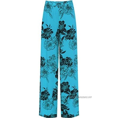 WearAll Women's Plus Floral Print Wide Leg Palazzo Trousers Ladies Pants Flared Harem 12-26