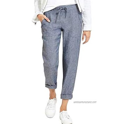 Womens Drawstring Elastic Waist Straight Leg Pants Solid Color Cotton Linen Loose Trousers with Pockets