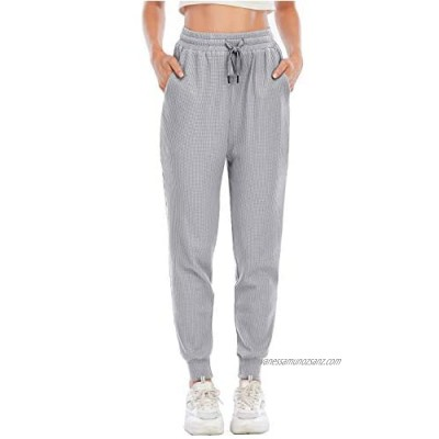Yidarton Women Sweatpants Joggers Waffle Casual Oversized Sports Trousers Tracksuit Bottoms Pants with Pockets