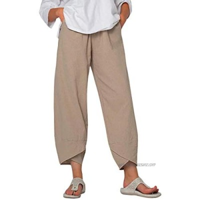 Yidarton Women's Linen Trousers Casual Cotton Pants Loose Fit Harlan Pants Baggy Elastic Waist Trouser with Pockets