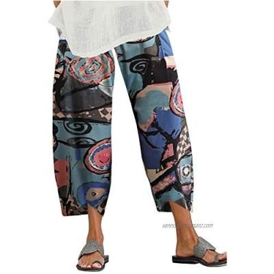 ZANZEA Women Harem Pants Wide Leg Cotton Linen Yoga Pants Floral Printed Loose Trousers Leggings Stretch Waistline Yoga Trousers