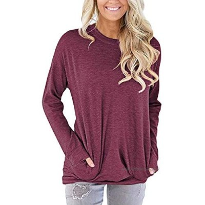 AUSELILY Women Casual Round Neck Long Sleeve Fit Tunic Top Baggy Comfy Blouse with Pockets