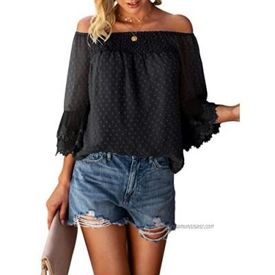 Bequemer Laden Women's Summer Off Shoulder Tops Ruffle 3/4 Bell Sleeve Swiss Dot Casual Shirts Blouse