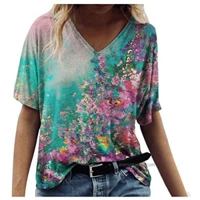 BUKINIE Ladies V Neck Floral Printed T Shirts Short Sleeve Graphic Tee Loose Fit Flare Blouse Bohemiac Print Summer Tops for Women Plus Size