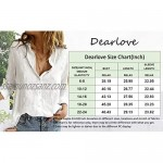 Dearlove Blouses for Women Casual V Neck Solid Color Womens Long Sleeve Button Down Tops Chiffon Shirts