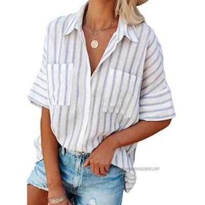 Elapsy Sky Blue Womens Striped Button Down Blouse Chiffon Shirts V Neck Tunic Tops X-Large 18 20