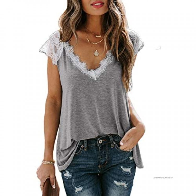 Elapsy Women Fashion Casual Chiffon Solid Short Sleeve V-Neck Splice Slim Lace Sexy Crop Top Blouse Grey 14 16…