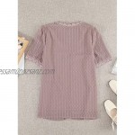 Elapsy Womens Lace V Neck Crochet Chiffon Blouse Long Sleeve Flowy T-Shirts Swiss Dot Blouese Causal Solid Color Tee Top Pink UK Size 18 20 XL