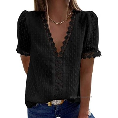 Elapsy Womens Lace V Neck Crochet Chiffon Blouse Long Sleeve Flowy T-Shirts Swiss Dot Blouese Causal Solid Color Tee Top Black UK Size 6 8 Small