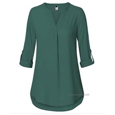 ELFIN Women Casual V Neck Shirt Chiffon 3/4 Long Sleeve Plus Size Blouse Loose Tops