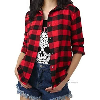Fesky Womens Plaid Shirt Ladies Flannel Checked Shirts Long Sleeve