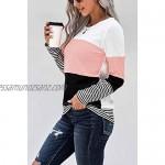 GOLDPKF Womens Striped Long Sleeve T Shirt Baggy Tops Oversized Sweatshirt Blouse Tunic