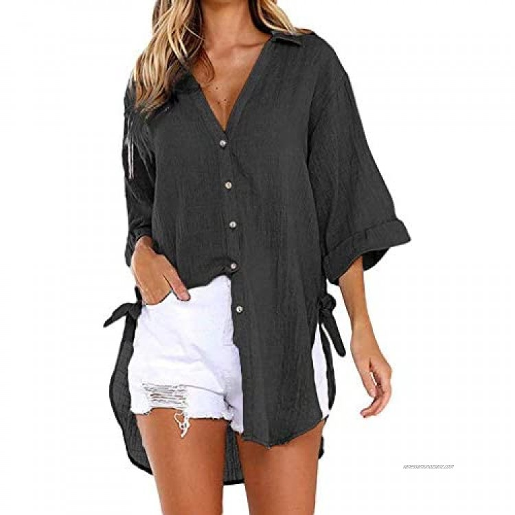 Lazzboy Women Casual Loose Button Long 3/4 Sleeve/Short Sleeve Tunic Tops T Shirt Blouse