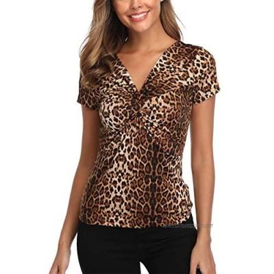 MISS MOLY Leopard Print Top Women Deep V-Neck Twist Knot Front Long Sleeve Shirt