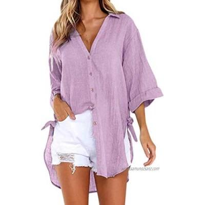 VJGOAL Womens Summer Loose Button Long Shirt Dress Cotton Ladies Casual Tops T-Shirt Blouse