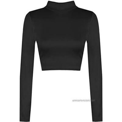 WearAll Womens Turtle Neck Crop Ladies Long Sleeve Plain Polo Short Stretch Top Sizes 8-14
