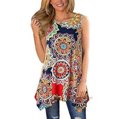 Women's Tank Tops O-Neck Casual Loose Sleeveless Printed Pattern Soft Blouse Shirts Plus Size