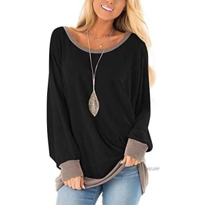 Yidarton Women's Tops Casual Sweatshirts Loose Long Sleeve Tops Color Block T-Shirt V Neck Tunic Blouse Jumpers