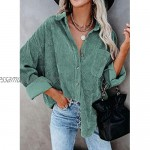 Zereesa Womens Corduroy Shirts Button Down V Neck Long Sleeve Blouse Casual Roll Up Cuffed Tops with Pockets