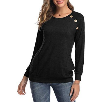 HAPYWER Womens Long Sleeve Tunic Tops with Pockets Ladies Plain Blouses Loose Round Neck Jumper Size UK