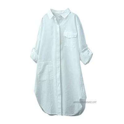 Lazzboy Shirt Women Tunic Long Sleeve Linen Plain Blouse Size 8-16 Button Down Ladies Loose Tops