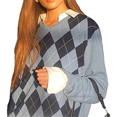 Miaouyo Womens Argyle Knitwear Top V Neck Long Sleeves Argyle Jumper Grid Print Knitted Sweater Pullover Y2K Preppy Style