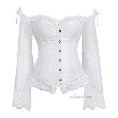 SoonerQuicker Halloween Costumes Party Gothic Off The Shoulder Tops Ladies Long Sleeve Crop Top Lace Tops for Women Corsets Steampunk