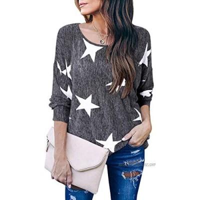 VONDA Womens Star Printed Long Sleeve T-Shirt Round Neck Tops Blouse Baggy Jumper