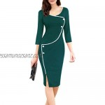 2019 Sale Women Autumn Winter Casual V-Neck Seven-Point Sleeve Front Fork Pencil Dress
