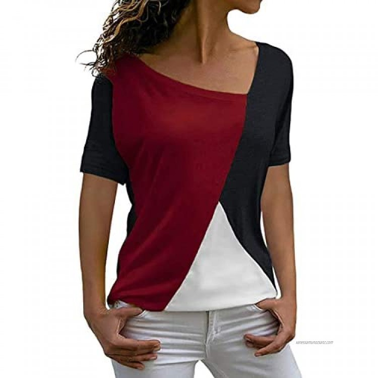 CAZOY Women's Summer Polo Shirts Short Sleeve Patchwork Round Neck Casual Wild Tunic Tops Ladies Color Block Lightweight Comfort Cotton Blended T-Shirt Sports Running Breathable Baseball Blouses
