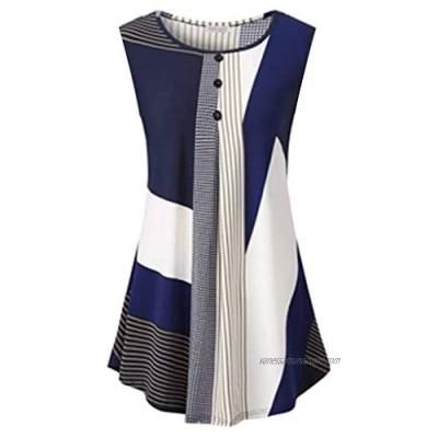 kolila 2020 Womens Tank T-Shirt Tops Sleeveless Sale Button Down Striped Front Summer Casual Round Neck Tunic Shirts