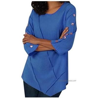 kolila Women's Casual Long Sleeve Round Neck Button Down T Loose Tunic T Shirt Sweatshirt Pullover Blouse Tops