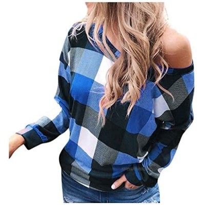 kolila Womens Skew Neck Long Sleeve T Shirts Casual Plaid Printed Shirt Sweatshirt Rainbow Design Top Blouse Sweater