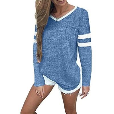 kolila Women's Tops Casual Cotton V Neck Sport T Shirt Short/Long Sleeve Blouse Striped Baseball Tee Shirts Tunic Tops