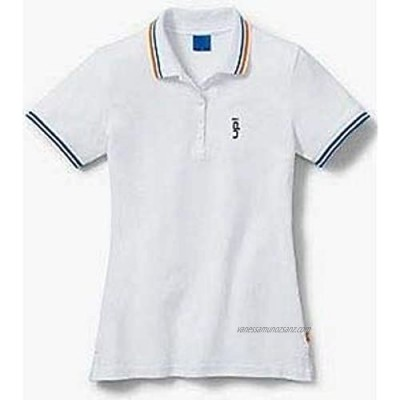 VW WOMENS WHITE UP! POLO T SHIRT – GENUINE VOLKSWAGEN UP COLLECTION MERCHANDISE (L)