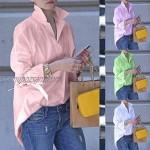 Women's Solid Long Sleeve Lapel Shirt