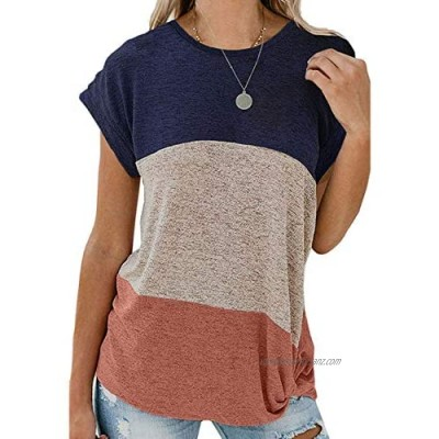 BLENCOT Women Color Block Twist Tee Casual Short Sleeve Round Neck Tunic Blouse Tops