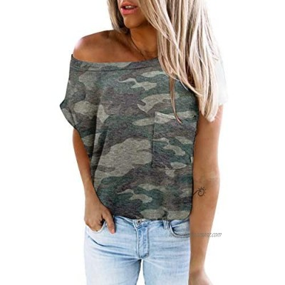 HOTAPEI Womens Summer Tops Causal Short Sleeve T-Shirts with Pockets Loose Crewneck Solid Color Tunic Tops Tee