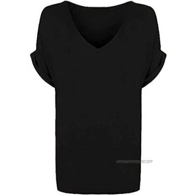 New Ladies Women's Plain V Neck Turn Up Short Sleeve Baggy T-Shirt Plus Size. UK 8-26