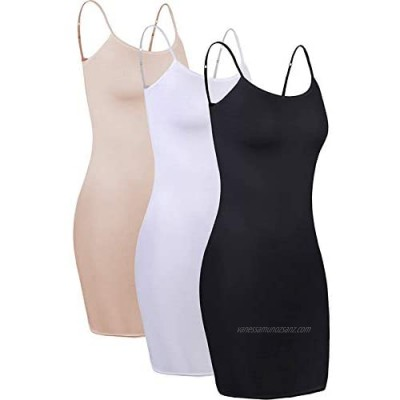 3 Pieces Women's Long Camisole Top Adjustable Spaghetti Strap Cami Camisole Tank Top